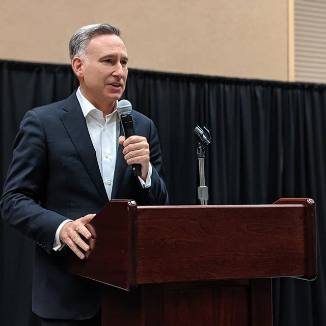 King County Executive Dow Constantine speaks at a reception for the Yakima County Democrats
