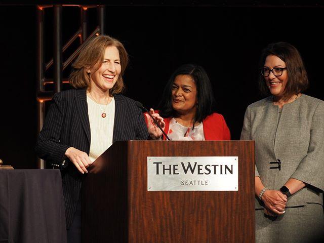U.S. Representatives Kim Schrier, Pramila Jayapal, and Suzan DelBene welcome attendees to Patty Murray's 2019 Golden Tennis Shoes