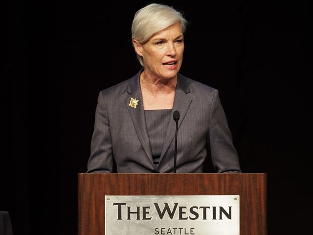 Former Planned Parenthood CEO Cecile Richards (now with Supermajority) speaks at Patty Murray's Golden Tennis Shoes