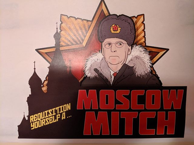 """Requisition yourself a Moscow Mitch"": A sign at an #OregonSummit party advertises a drink available at the bar"