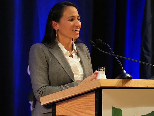 U.S. Representative Sharice Davids, one of two Native American women elected to the House last year, offers the keynote address at the tenth biennial #OregonSummit