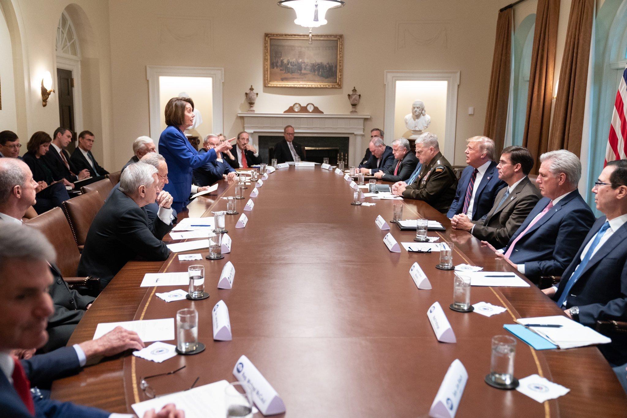Nancy Pelosi confronts Donald Trump