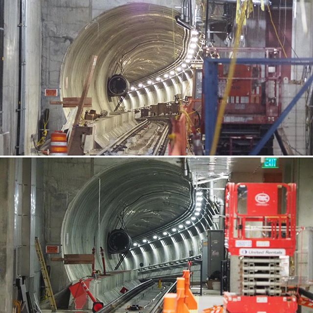 A before and after look at Sound Transit's Roosevelt Station: The top image shows a light rail tunnel under construction as of last January; the bottom image shows that same tunnel eleven months later