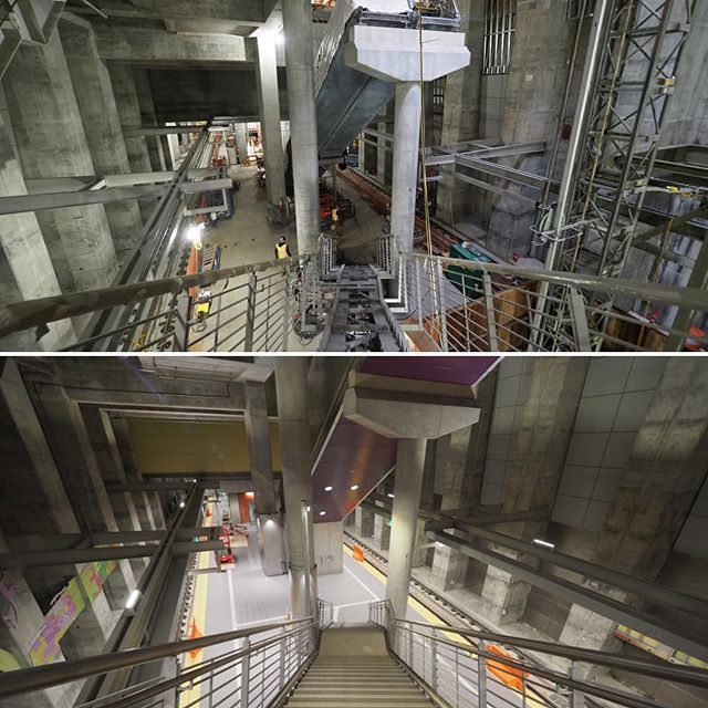 A before and after look at Sound Transit's Roosevelt Station: The top image shows construction on the platform as of January 2019; the bottom image shows the nearly complete station platform eleven months later
