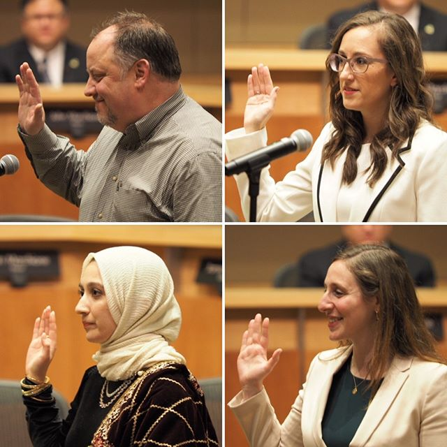 Taking the oath: David Carson, Jessica Forsythe, Varisha Khan, and Vanessa Kritzer are sworn in as Redmond City Councilmembers