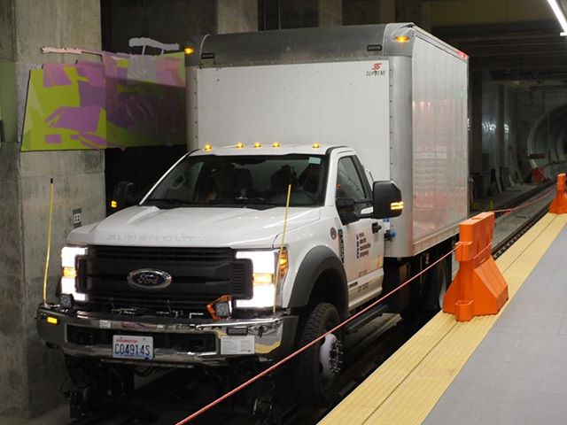 Inside Sound Transit's new Roosevelt Station: This train truck has been specially outfitted so that it can run on rails