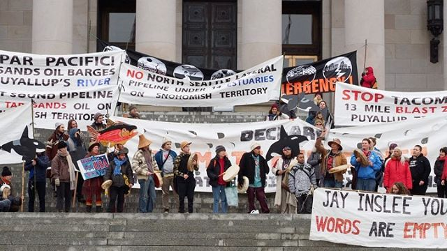 Indigenous activists call on Governor Jay Inslee to declare a climate emergency