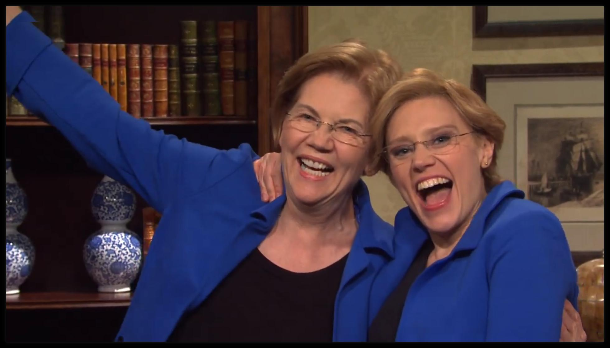 Elizabeth Warren with Kate McKinnon