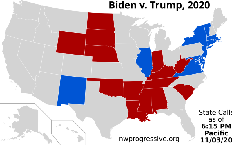 Trump versus Biden: 6:15 PM Pacific Map