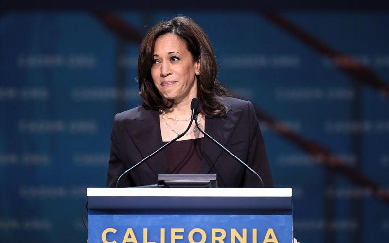 Harris speaks to Carifornia Democrats.