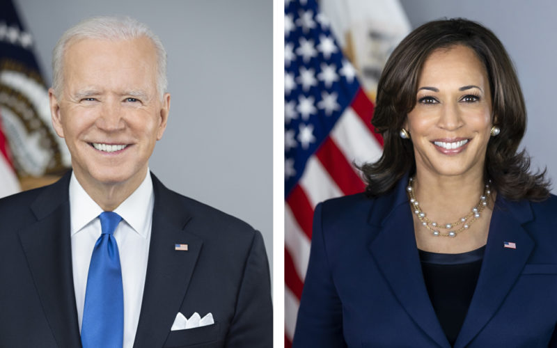 Official portraits of Joe Biden and Kamala Harris
