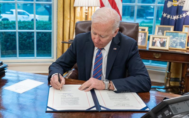 President Joe Biden at the Resolute Desk