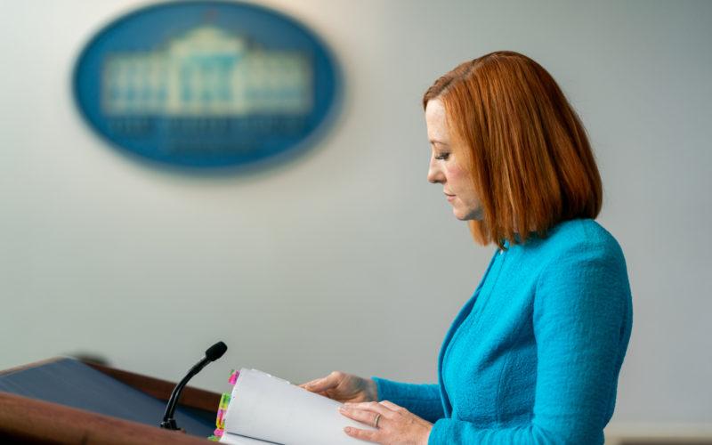 Jen Psaki at the podium