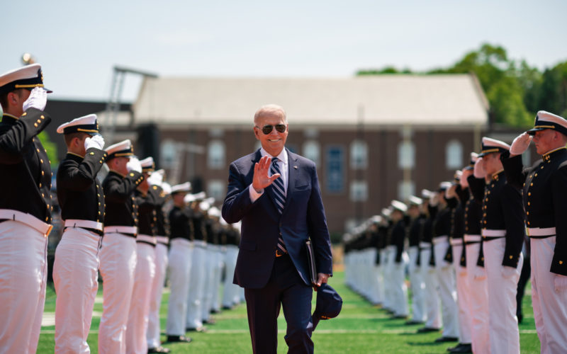President Biden at a Coast Guard commencement ceremony