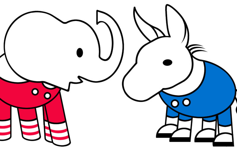 Bipartisan? Republican elephant and Democratic donkey