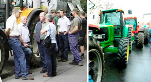Fake pictures of a fake farmer rally