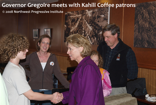 Governor Gregoire meets Kahili Coffee patrons