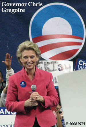 Governor Chris Gregoire Endorses Barack Obama at Rally