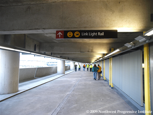 The walkway between the terminal and SeaTac Station