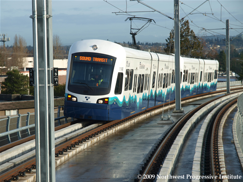 A Link light rail train on its way into SeaTac