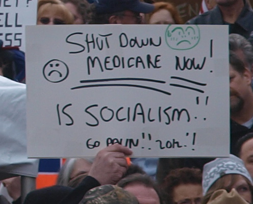 Libertarian sign calling for end to Medicare