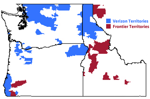 Verizon and Frontier Territories in the Pacific Northwest