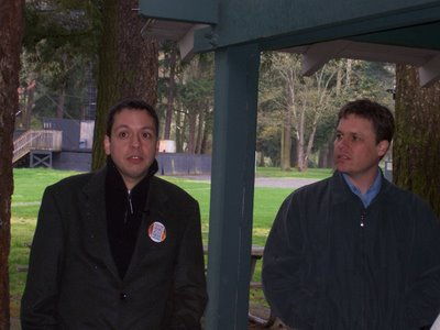 Markos speaks to the crowd at Redmond's Marymoor Park