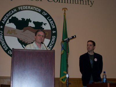 Markos and Jerome speaking at the Seattle Labor Temple