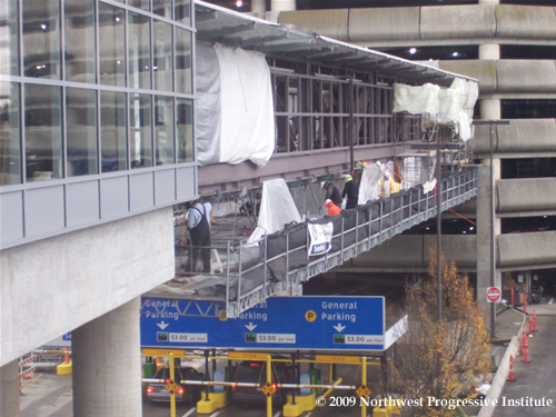 Airport Link skybridge under construction