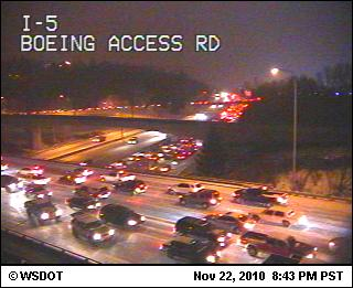 Icy evening commute on Interstate 5 at Boeing Access Road