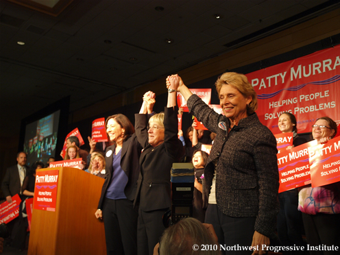 Patty Murray on stage with Maria Cantwell and Chris Gregoire