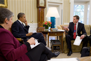 President Obama meets with TSA Administrator John Pistole and Secretary of Homeland Security Janet Napolitano