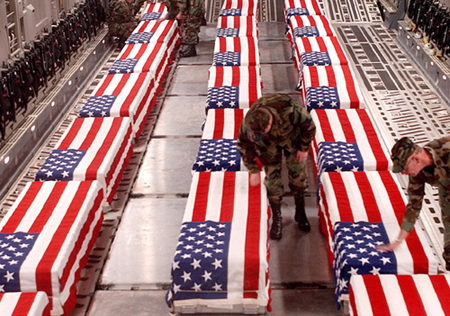 Fallen soliders lying in caskets