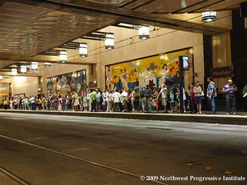People waiting for the train at Westlake Center