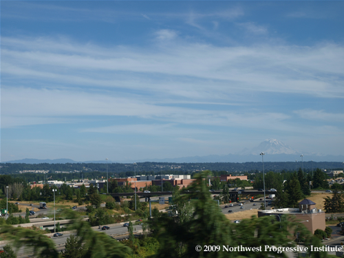 Mount Rainier looms over Southcenter