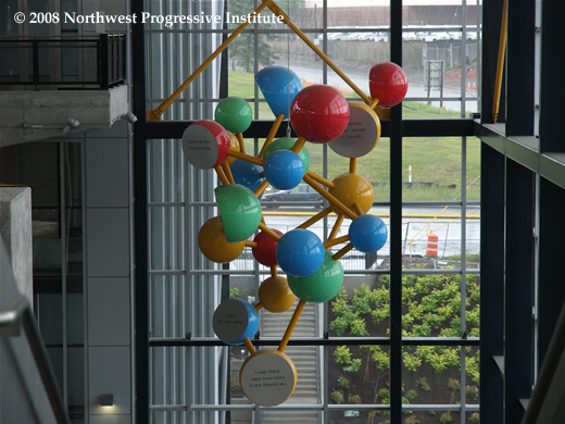 Public artwork inside the Tukwila station