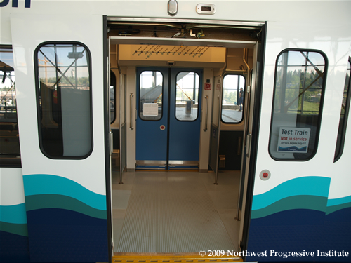 Doors of a Link light rail train