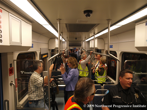 Inside a Central Link Train in the Transit Tunnel