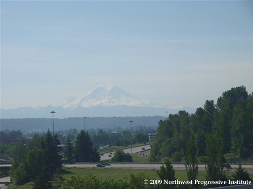 View of Mount Rainier from Central Link