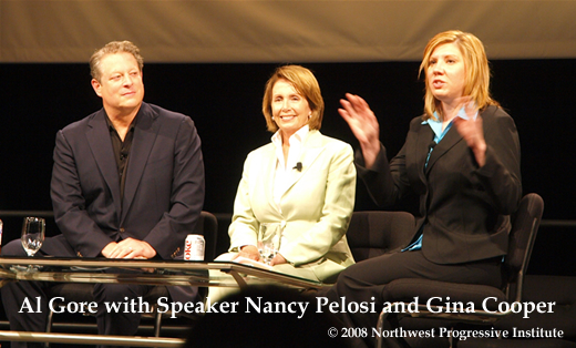 Al Gore, Nancy Pelosi, and Gina Cooper