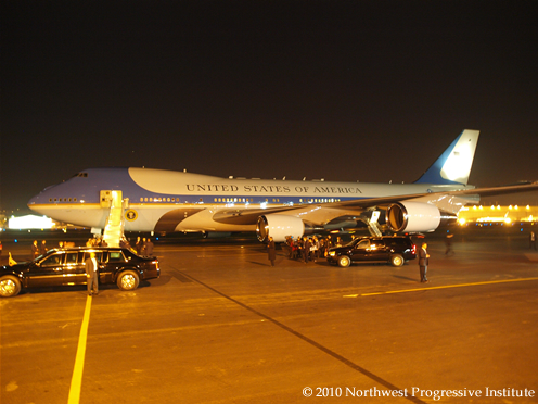 Air Force One parked on the tarmac