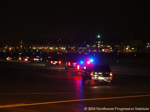 Presidential motorcade departs Boeing Field