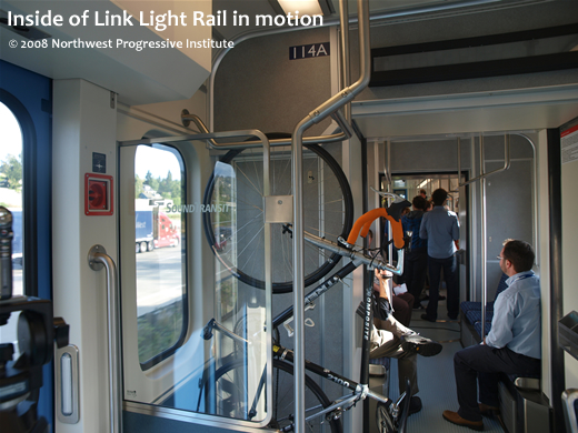 Inside of Link Light Rail in motion