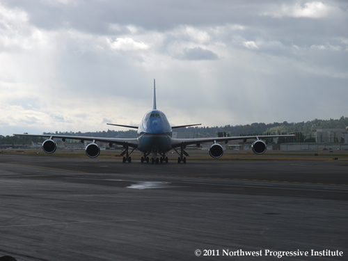 Air Force One lands at Boeing Field