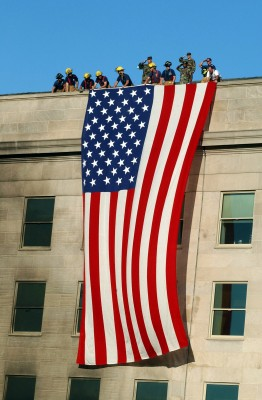 The American flag is raised at the Pentagon on September 11th