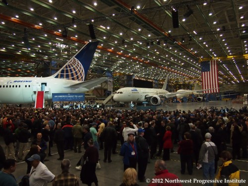View of the Boeing factory floor prior to President Obama's speech