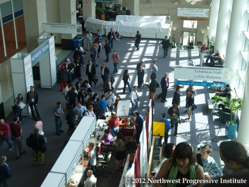 A view of the foyer at the Rhode Island Convention Center on the first day of Netroots Nation 2012