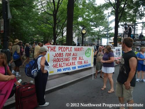 A protest sign at CarolinaFest