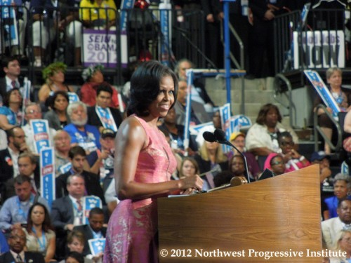 First Lady Michelle Obama addresses the 2012 Democratic National Convention