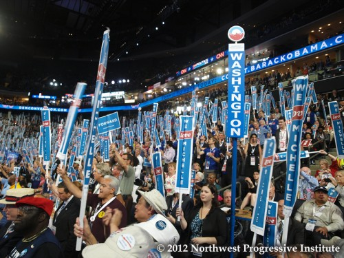 Washington, New Hampshire, and Minnesota delegates cheer for Michelle Obama